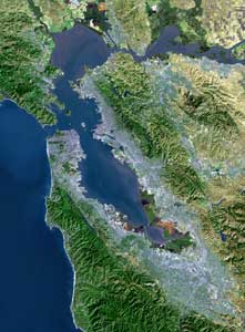 [Satellite photo of the San Francisco Bay Area from www.sfbayquakes.org]